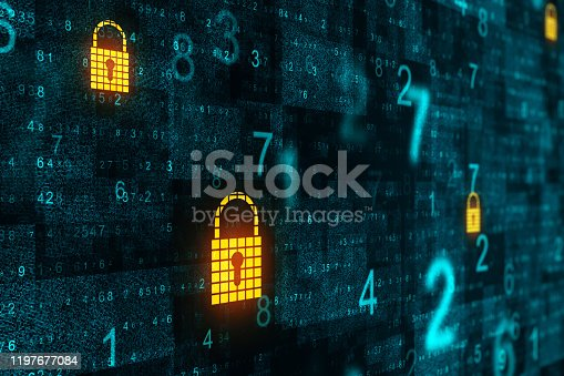 Abstract binary code background with padlocks. Protect and technology concept. 3D Rendering