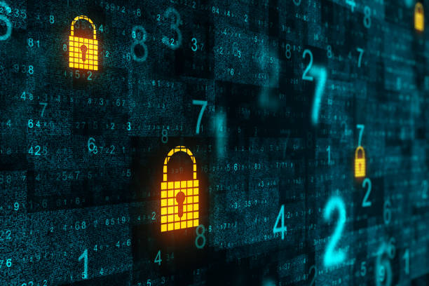 Abstract protect background Abstract binary code background with padlocks. Protect and technology concept. 3D Rendering privacy stock pictures, royalty-free photos & images