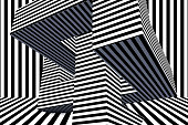 Black and white color 3D rendering of Abstract Psychedelic Striped Lines Background. Architecture concept.