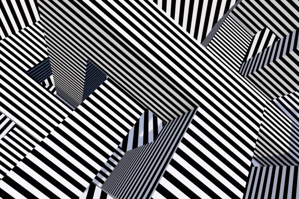 3d abstract psychedelic striped lines, architecture background - optische täuschungen zeichnen stock-fotos und bilder