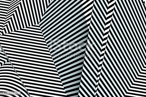 Black and white color 3D rendering of Abstract Psychedelic Striped Lines Background.