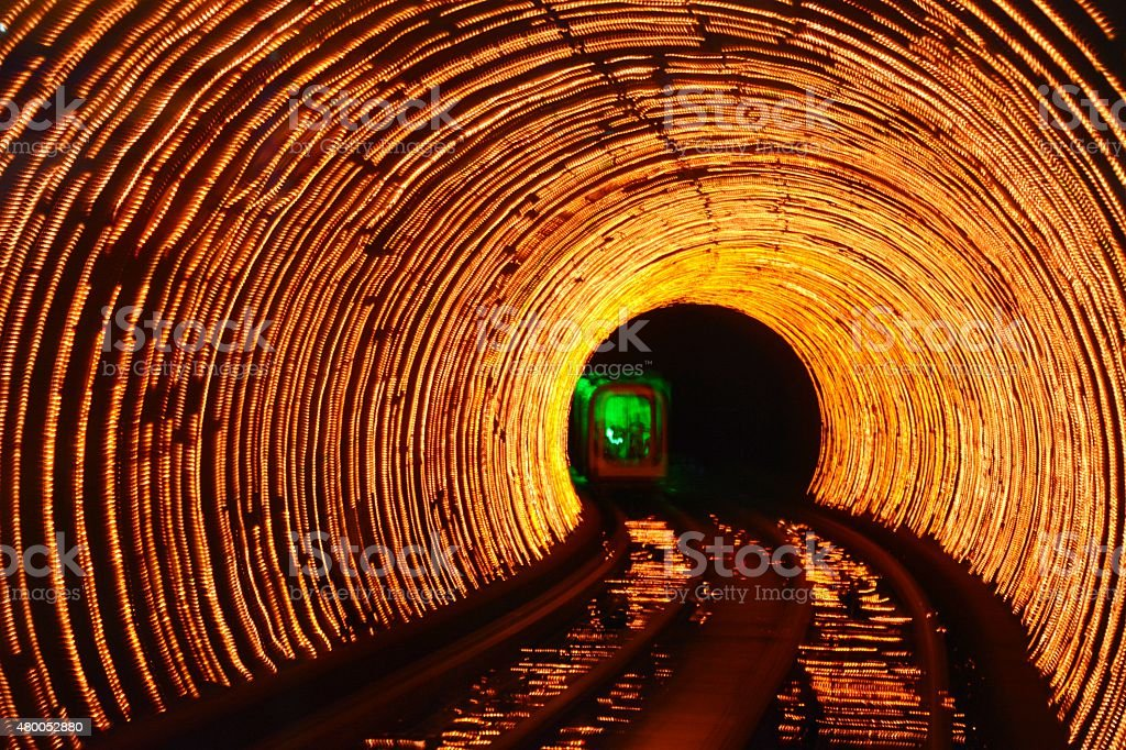 Abstract psychedelic train in tunnel stock photo