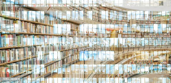istock Abstract public library, reflection of office building 1064260906
