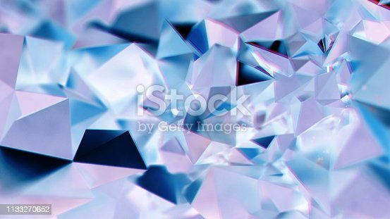 istock Abstract purple and blue crystal triangular BG 1133270652