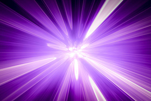 Abstract purple background, blurred blue rays of light, speed effect stock photo