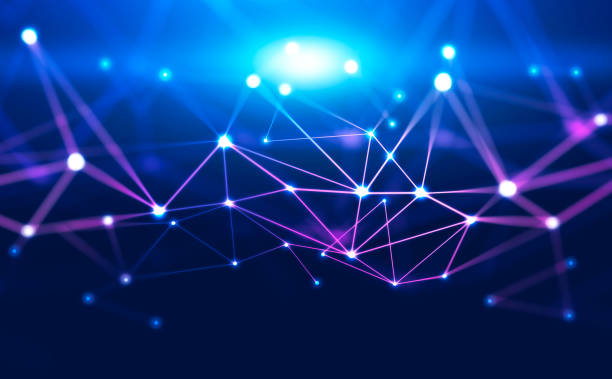 Abstract purple connection dots background Abstract background with glowing purple and blue connection dots over dark blue. Concept of digital technology and blockchain. 3d rendering computer network stock pictures, royalty-free photos & images