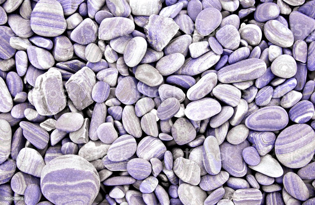 Abstract purple dry round stones background. At the beach. Sea pebbles and gravel style. Top view. Close up. zbiór zdjęć royalty-free