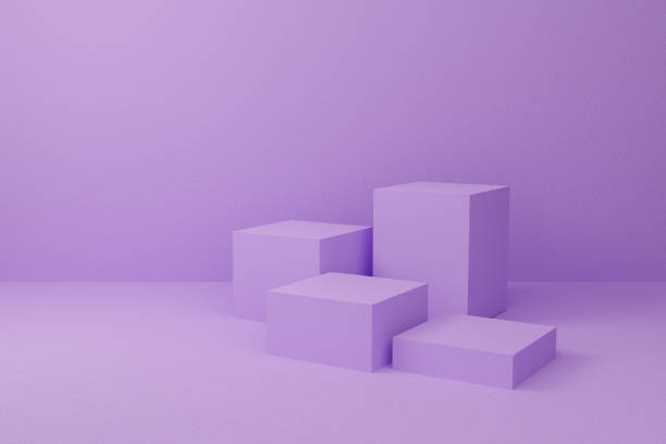 Abstract purple on pastel background texture with geometric shape. 3d render design for display product on website. Minimal mockup with violet podium scene concept. Empty showcase for advertising. stock photo