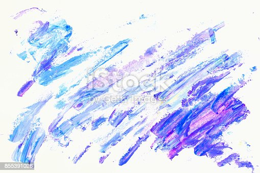 istock Abstract purple, violet and blue shades. Close-up fragment of hand painted acrylic multicolor brush strokes on white paper. Modern art background 855391026