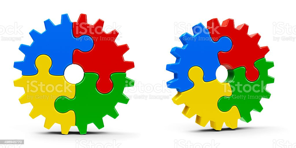 Abstract puzzle gears stock photo
