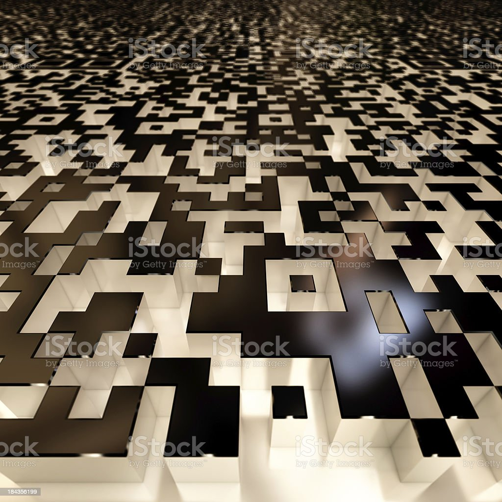 Abstract QR Code Barcode Labyrinth stock photo