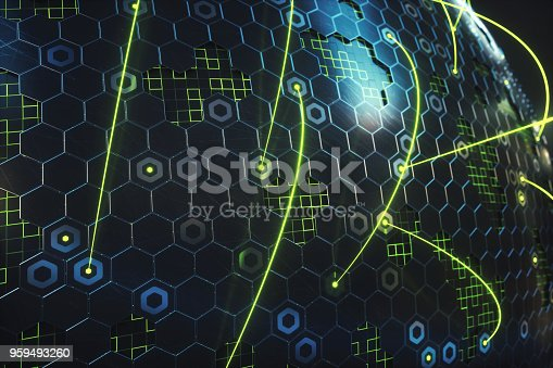 istock Abstract quantum computer honeycomb structure with green lasers & glowing grid 959493260