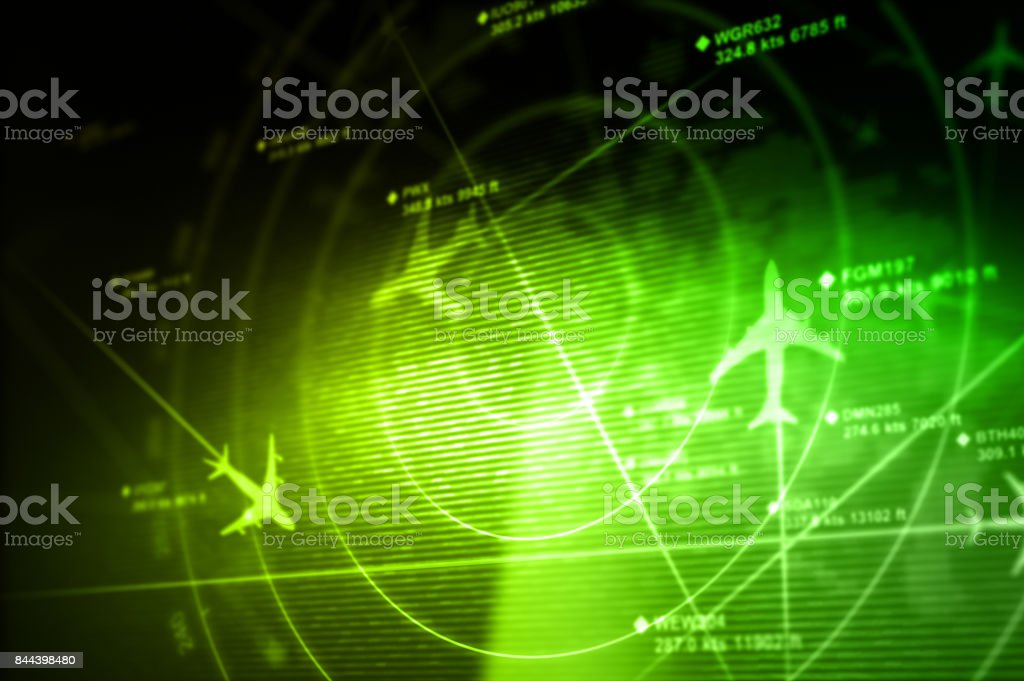 Abstract radar Abstract radar with targets in action - 3D Rendering Abstract Stock Photo