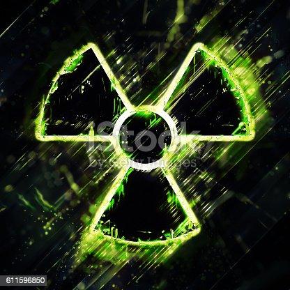 istock Abstract radiation hazard sign 611596850