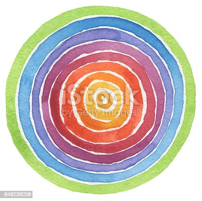 istock Abstract rainbow acrylic and watercolor circle painted background. Texture paper. 649239208