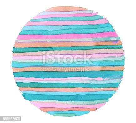 istock Abstract rainbow acrylic and watercolor circle painted background. Texture paper. 655867800