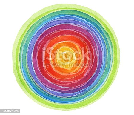 istock Abstract rainbow acrylic and watercolor circle painted background. Texture paper. 655874070
