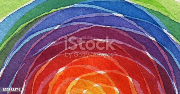 istock Abstract rainbow acrylic and watercolor circle painted background. Texture paper. 655883374