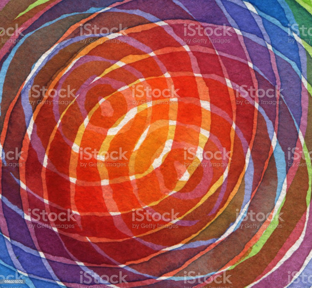 Abstract rainbow acrylic and watercolor circle painted background. Texture paper. stock photo