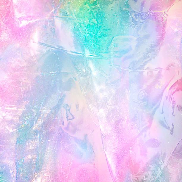 虹のホログラム箔のテクスチャを抽象化します。パステル カラーのおしゃれな魔法の背景。 - ホログラム ストックフォトと画像