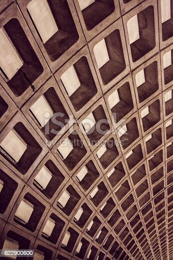 An abstract rectangular pattern from the ceiling of Washington DC metro stations.