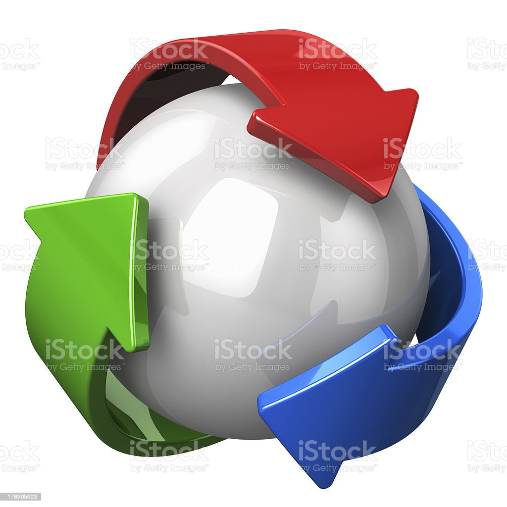 Abstract recycling symbol stock photo