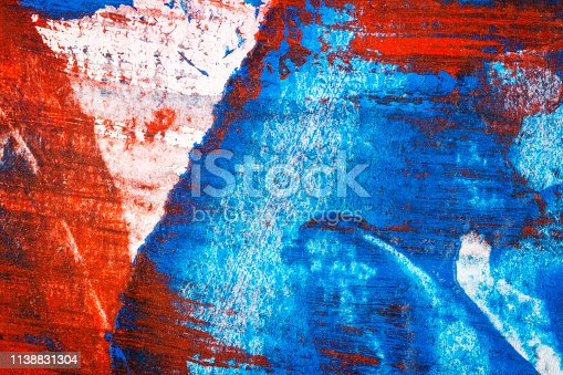 Abstract red and blue hand painted acrylic background, creative abstract hand painted colorful background, close up fragment of acrylic painting on paper