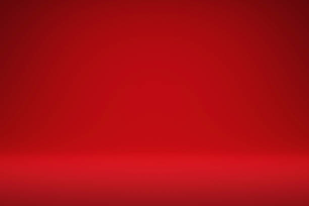 Abstract red and gradient light background with studio backdrops. Blank display or clean room for showing product. Realistic 3D render. stock photo