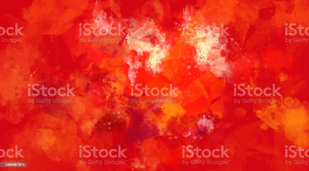 Abstract red and orange watercolor background. Bright multi colored spots. stock photo