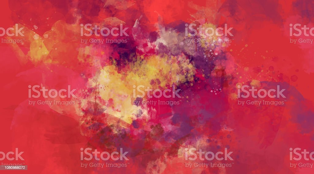 Abstract red and pink watercolor background. Bright multi colored spots. stock photo