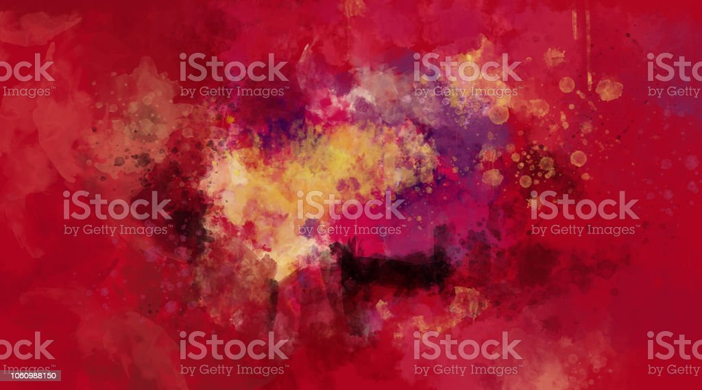 Abstract red and violet watercolor background. Bright multi colored spots. stock photo