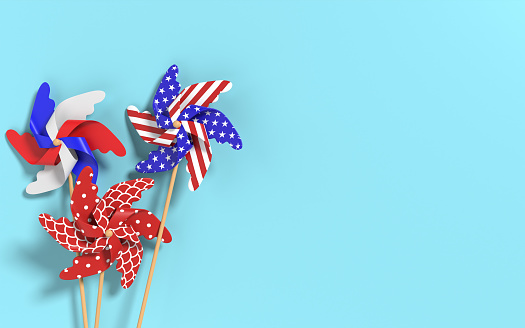 Abstract red, blue and white paper flower windmill design elements. 4th of July patriotic background. USA independence day banner, invitation, greeting card template. Easy to crop for all design, social media and print needs. 3D render.