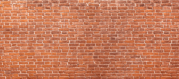 Abstract red brick wall panoramic background