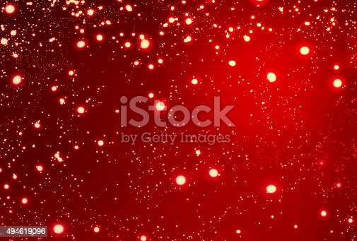 istock Abstract  Red Christmas Background with golden lights. Festive 494619096