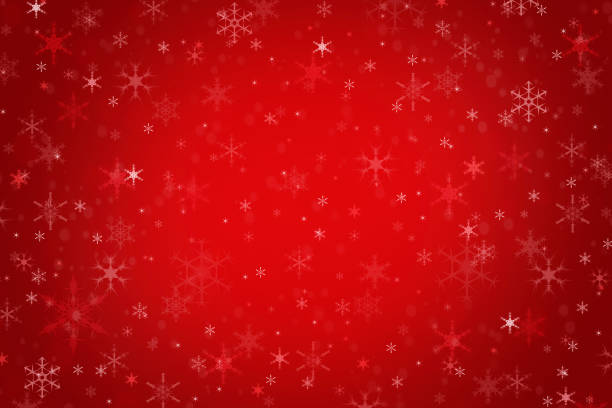 abstract red christmas winter background - snowflake background stock pictures, royalty-free photos & images