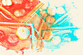 Abstract red color apple fruit watercolor illustration painting background.