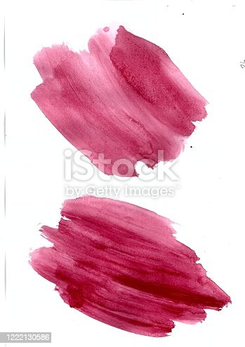 944453740 istock photo Abstract red colorful brush on white paper watercolor illustration painting background. 1222130586