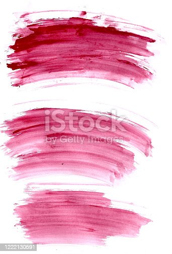 944453740 istock photo Abstract red colorful brush on white paper watercolor illustration painting background. 1222130591