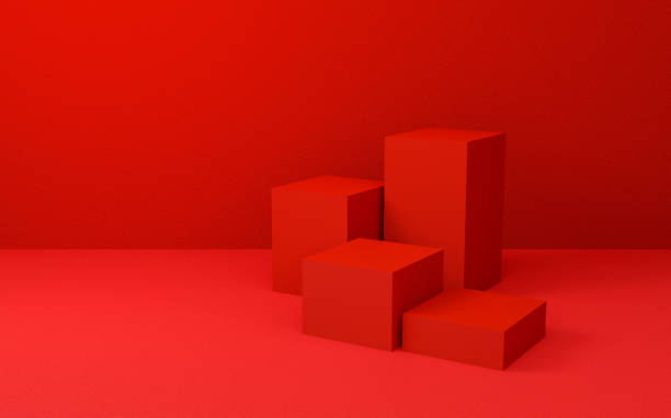 Abstract red cube background texture with geometric shape. 3d render design for display product on website. Minimalist mockup with red podium scene concept. Empty showcase for advertising and banner. stock photo