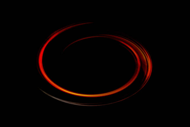 Abstract red digital curves on black background