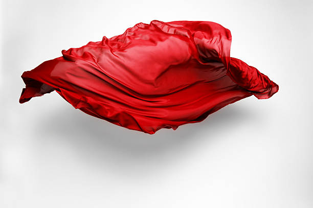 abstract red fabric in motion piece of red fabric soaring, art object, design element floating fabric stock pictures, royalty-free photos & images