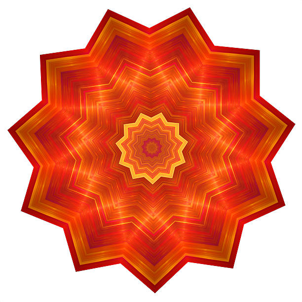 Abstract red flower in polygon shape stock photo