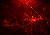 Abstract Red Geometrical Background ..Futuristic technology style. Neon Sign . Futuristic Technology HUD Element . Elegant Abstract background . Big data .