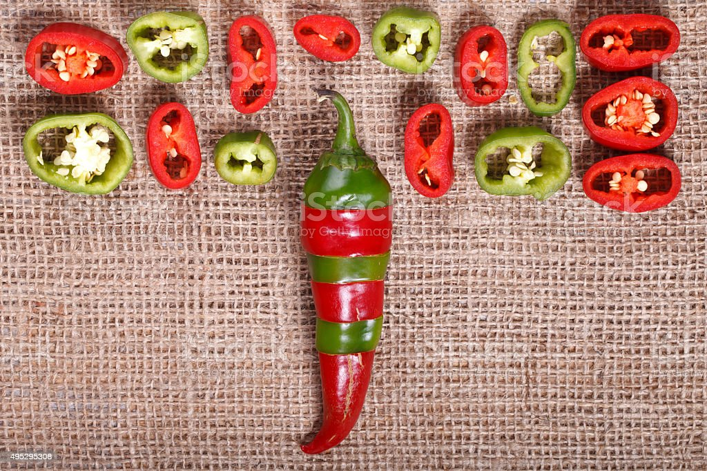 Abstract red green pepper , bright background stock photo