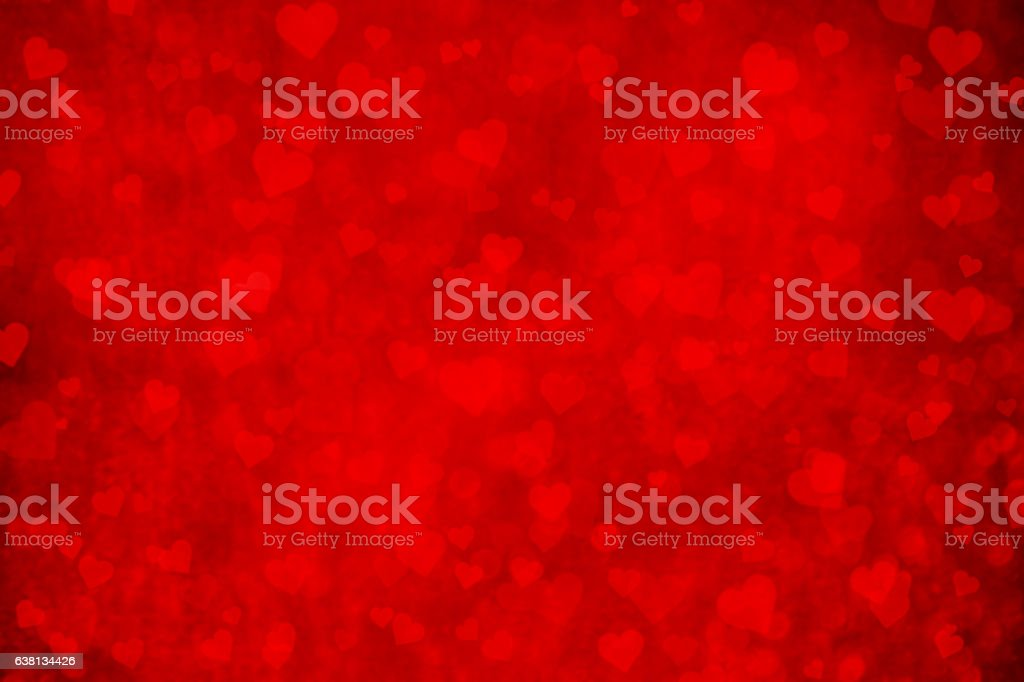 Abstract Red Hearts On Grunge Background