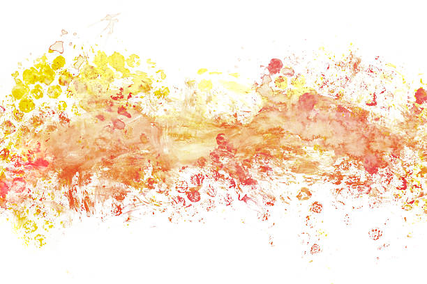abstract red orange - yellow watercolor background - wave icon stock photos and pictures