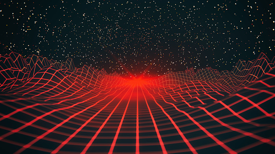 3d red wireframe mountains in abstract space.