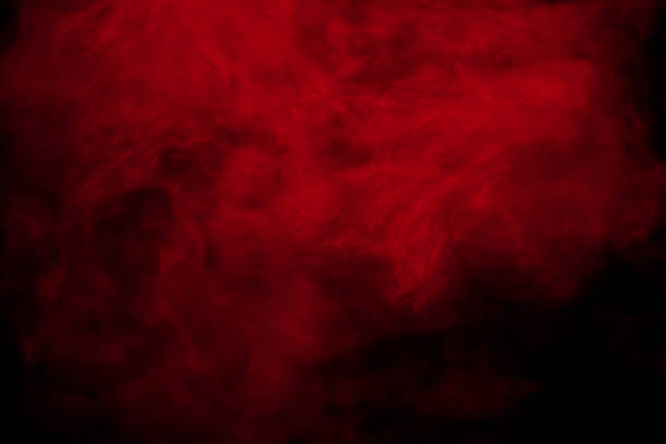 abstract red smoke on black  background. red color clouds. - vermelho imagens e fotografias de stock