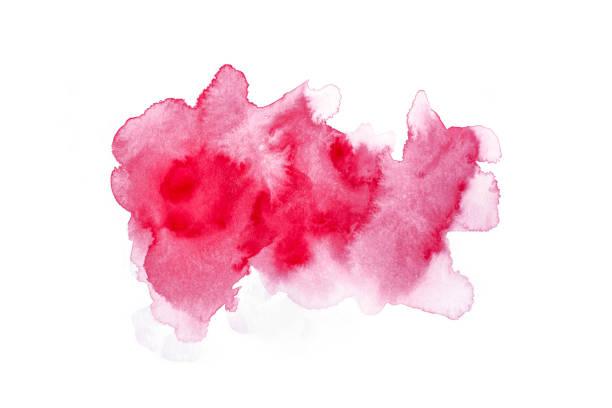 aquarelle abstraite de rouge isolé sur fond blanc - aquarelle sur papier photos et images de collection