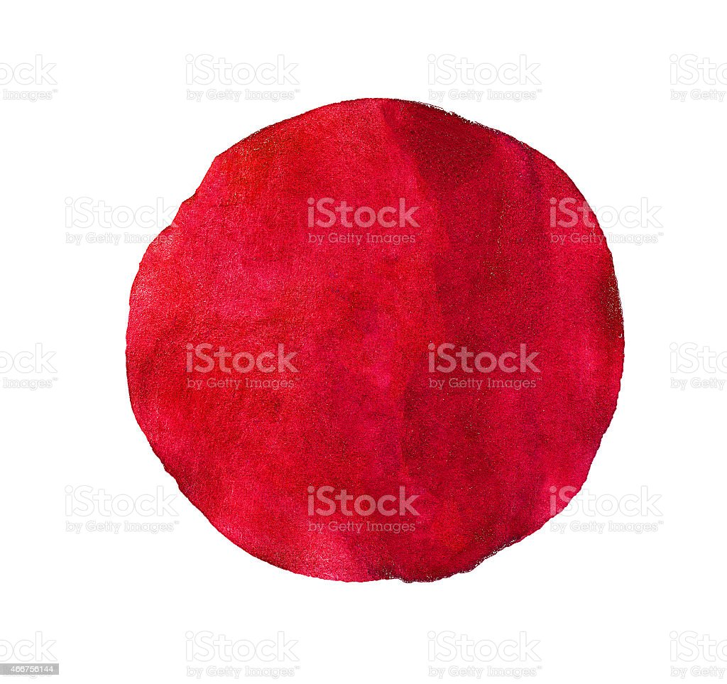 Abstract red watercolor painted circle stock photo
